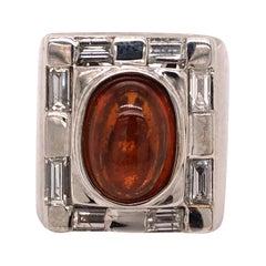 14 Karat White Gold Spessartine Garnet Diamond Ring
