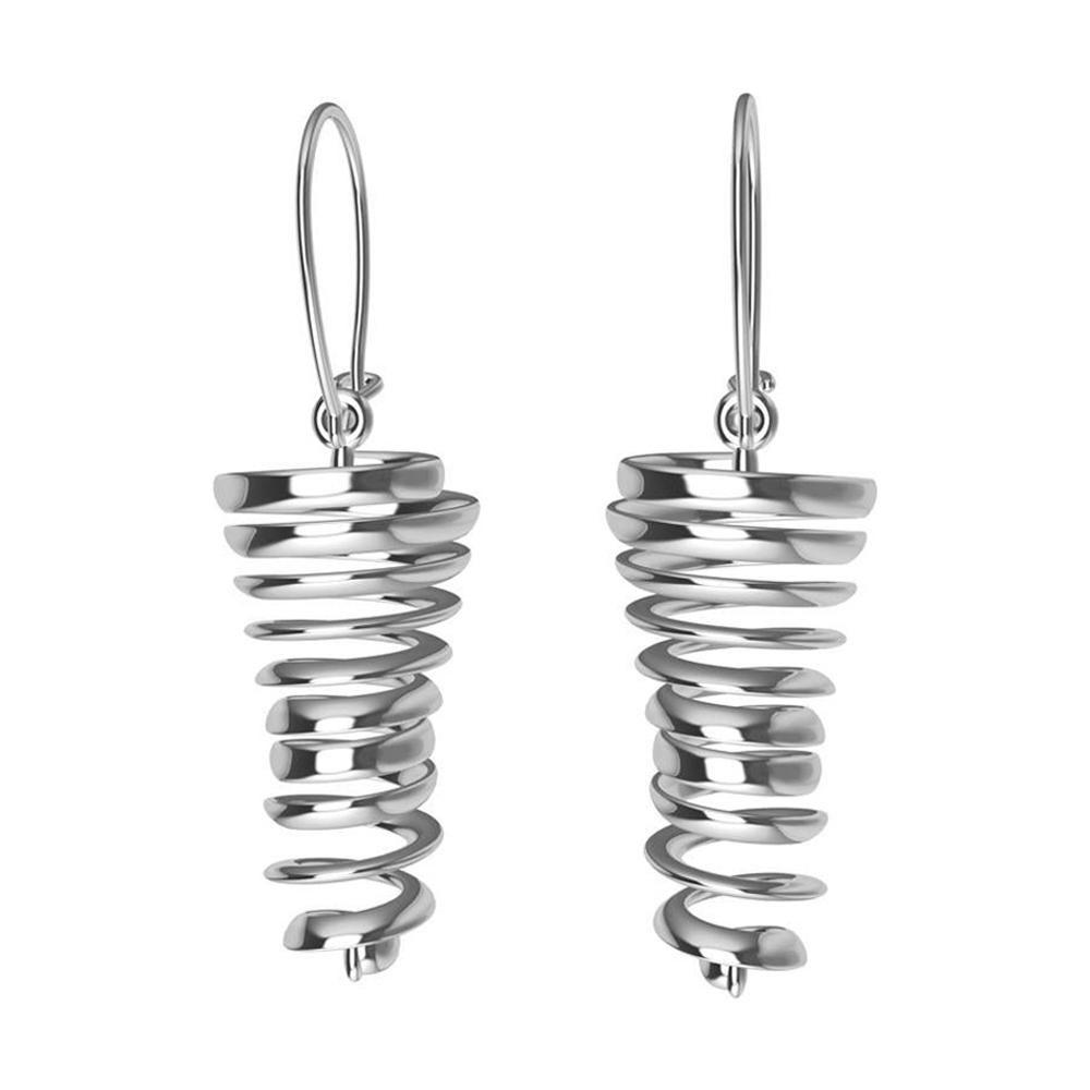14 Karat White Gold Spiral Dangle Earrings