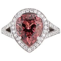 14 Karat White Gold Split Shank Pear Cut Pink Tourmaline Engagement Ring