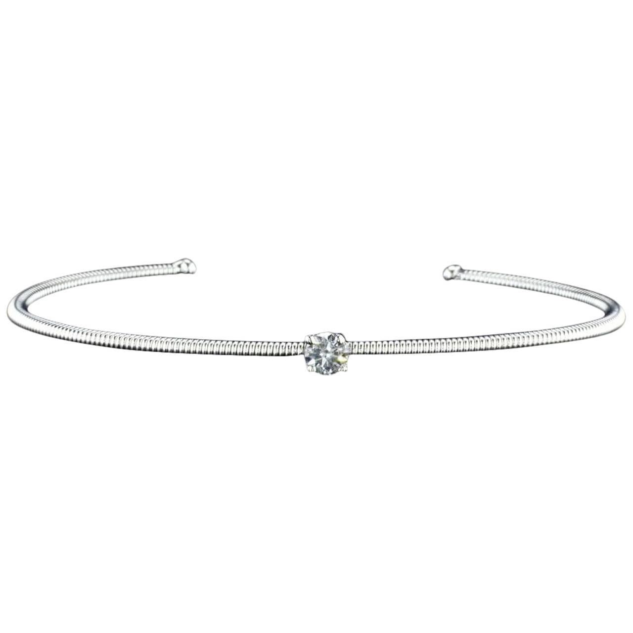 14K White Gold Spring Bangle Bracelet with a Center Diamond
