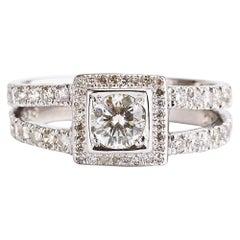 14 Karat White Gold Square Halo Pave Diamond Engagement Ring