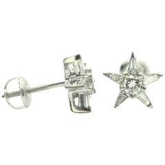 14 Karat White Gold Star Shape Diamond Earrings