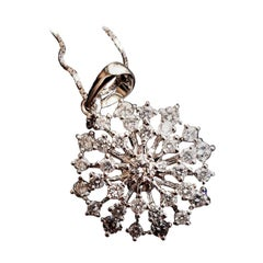 "14 Karat White Gold ""Starburst"" Diamond Pendant"