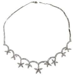 14 Karat White Gold Stardust-Flower Diamond Necklace with 6.05Carat