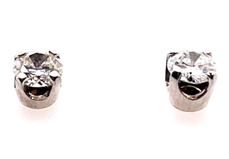 Contemporary 14 Karat White Gold Stud Diamond Earrings For Sale
