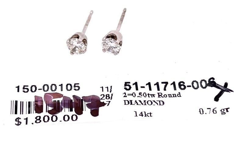 Women's or Men's 14 Karat White Gold Stud Diamond Earrings For Sale