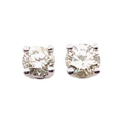 14 Karat White Gold Stud Diamond Earrings