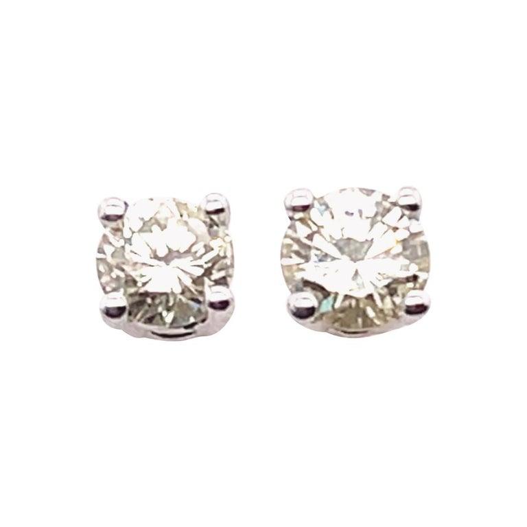 14 Karat White Gold Stud Diamond Earrings For Sale