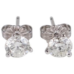 14 Karat White Gold Stud Earrings