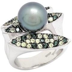 14 Karat White Gold Tahitian Pearl, Tourmaline and Peridot Ring