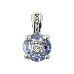 14 Karat White Gold Tanzanite and Diamond Pendant