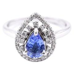 14 Karat White Gold Tanzanite and Diamond Ring Designer Custom Design Material