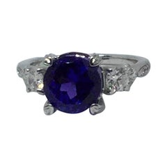 14 Karat White Gold Tanzanite and Diamond Ring