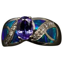14-Karat White Gold, Tanzanite, Diamond, and Opal Ring