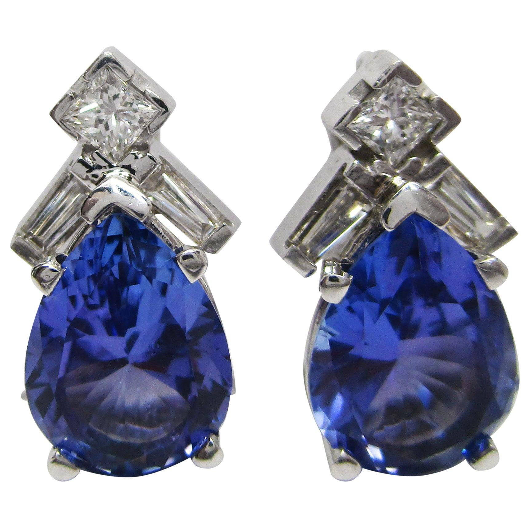14 Karat White Gold Tanzanite Diamond Teardrop Stud Earrings