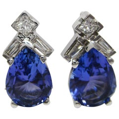14 Karat White Gold Tanzanite Diamond Teardrop Stud Earrings