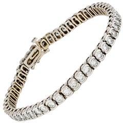 14 Karat White Gold Tennis Bracelet 6.50 Carat