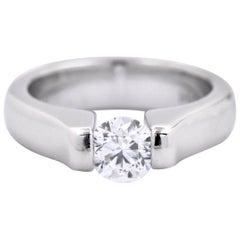 14 Karat White Gold Tension Set Diamond Engagement Ring