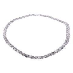 """14 Karat White Gold Textured Weave Necklace """"Aurafin"""""""