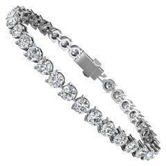 14 Karat White Gold Three Prongs Diamond Tennis Bracelet '10 Carat'