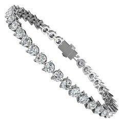 14 Karat White Gold Three Prongs Diamond Tennis Bracelet '8 Carat'