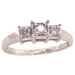 14 Karat White Gold Three-Stone Diamond Engagement Anniversary Wedding Ring