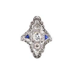 14 Karat White Gold Three-Stone European Cut Vintage Diamond Ring