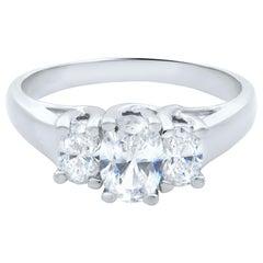 14 Karat White Gold Three-Stone Oval Diamond Engagement Ring 1.10 Carat