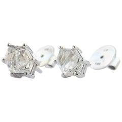 14 Karat White Gold Tourmalinated Quartz Earrings