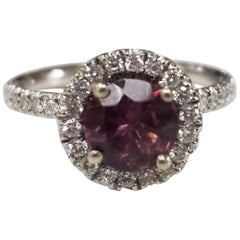 14 Karat White Gold Tourmaline and Diamond Halo Ring