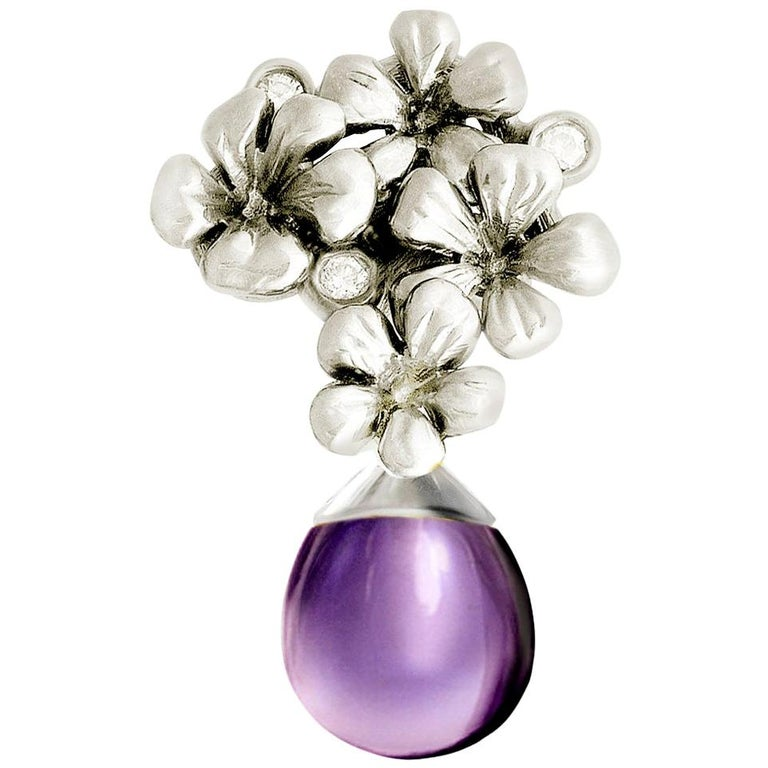 14 Karat White Gold Transformer Modern Plum Blossom Brooch with Diamonds For Sale