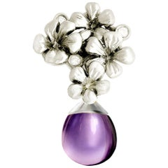 14 Karat White Gold Transformer Modern Plum Blossom Brooch with Diamonds