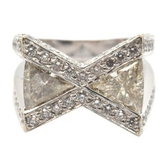 14 Karat White Gold Trilliant Cut 4.00 Carat Diamond Ring with Open Side Gallery