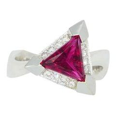 14 Karat White Gold Trilliant Rubelite and Diamond Ring by Designer Viachi