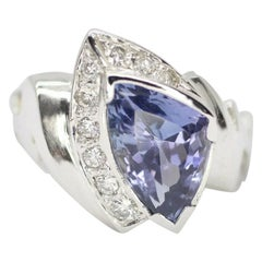 14 Karat White Gold Trillion-Cut Violet-Blue Tanzanite and Diamonds Ring