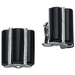 14 Karat White Gold Triple Onyx Bar and Diamond Earrings