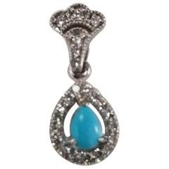 14 Karat White Gold Turquoise and Diamond Pendant