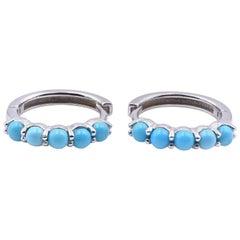 14 Karat White Gold Turquoise Huggie Earrings