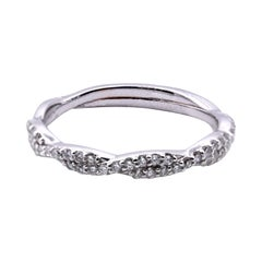 14 Karat White Gold Twist Diamond Band