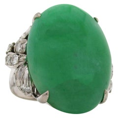 14 Karat White Gold Untreated Cabochon Jade and 0.5 Carat Diamond Ring