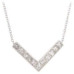 14 Karat White Gold V-Shaped Diamond Necklace