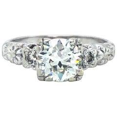 14 Karat White Gold Vintage 1 Carat European Cut Diamond Engagement Ring