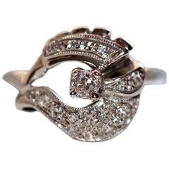 14 Karat White Gold Vintage Art Deco Diamond Cocktail Ring