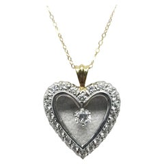 14 Karat White Gold Vintage Art Deco Diamond Heart Pendant
