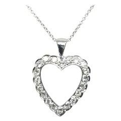 14 Karat White Gold Vintage Art Deco Diamond Heart Pendant with 1.00 Carat