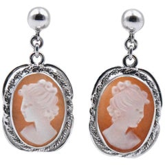 14 Karat White Gold Vintage Cameo Drop Earrings