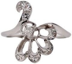 14 Karat White Gold Vintage Diamond Cocktail Ring
