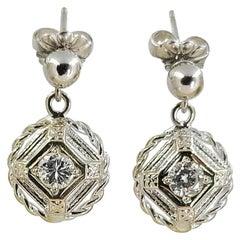 14 Karat White Gold Vintage Diamond Dangle Earrings