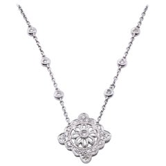 14 Karat White Gold Vintage Diamond Necklace with Diamonds by the Yard Chain