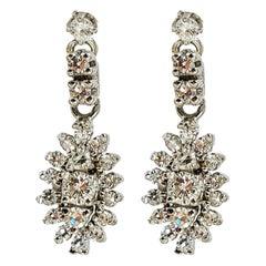 14 Karat White Gold Vintage Drop Diamond Earrings